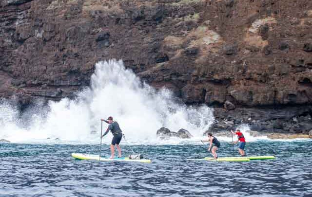 Neil Laughton paddle boarding around Easter Island